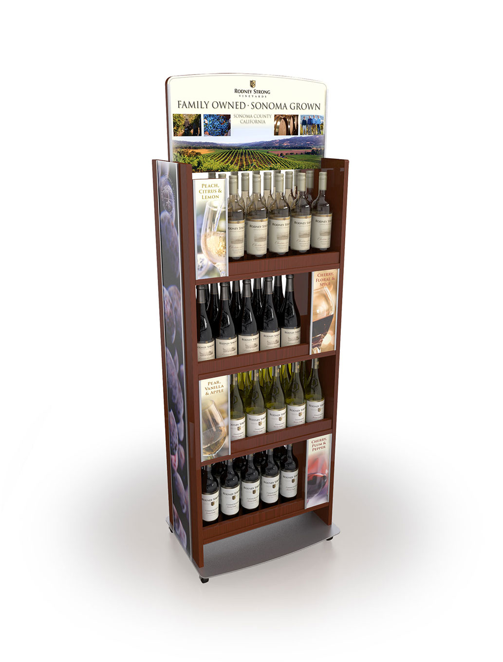 Elegant floor display showcasing Rodney Strong Vineyard wines.