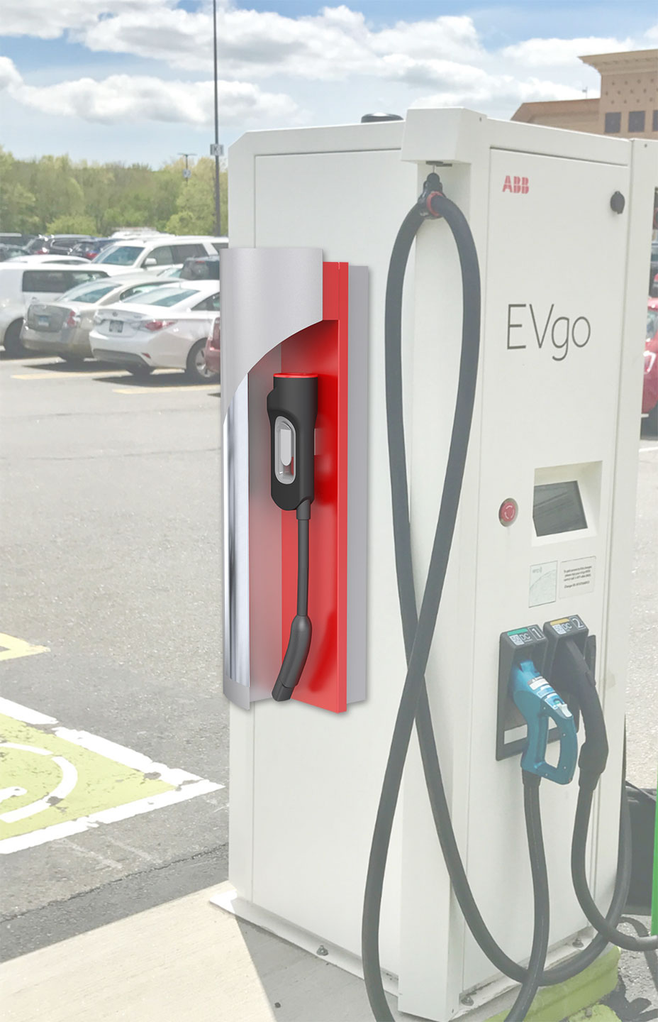 Outdoor electric car charging station for EVgo.