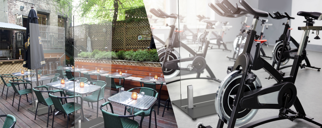 Two combined images showing use of CORE Safety Partitions at a restaurant and a fitness class